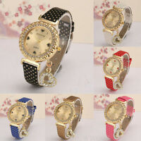 Fashion Women Watch Crystal Stainless Steel Leather Analog Quartz Wrist Watches