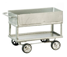 Dollhouse Miniature - Silver Metal Utility Cart - 1:12 Scale