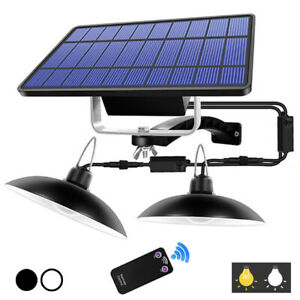 Double Head Solar Power LED Pendant Light Remote Control Waterproof Outdoor Lamp