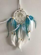 9cm Web White Boho Crochet Dream Catcher Teal Blue & White Feathers & Wood Beads