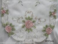 """Spring Embroidered Pink Rose Floral Sheer Table Runner 15x35"""" oval New #3737W"""