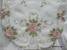 "Spring Embroidered Pink Rose Floral Sheer Table Runner 15x35"" oval New #3737W"
