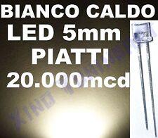 N 10 LED BIANCO CALDO 5mm PIATTI FLAT TOP 140° 20000mcd