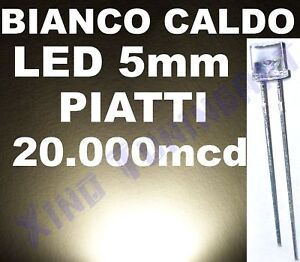 10 LED BIANCO WARM WHITE 5mm TESTA PIATTA FLAT TOP 140°