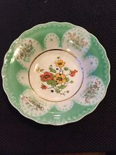 "Vintage Porcelain China Vegetable Bowl flowers green pink 9-5/8"" Gold"