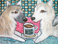 Norwegian Buhund Drinking Coffee Art Print 8 x 10 Vintage Style Dog Collectible