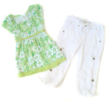 Girls Justice Lot Green Floral Swing Top White Capris Pants Set Spring Summer 10