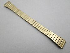 14mm lady's stretch expansion stainless steel watch band gold tone straight end