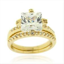 18K Gold over 925 Silver Square CZ Wedding Engagement Stackable Ring Set Size 6