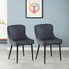 More details for 2pcs grey velvet dining chairs set fabric padded bucket seat metal legs chairs