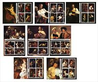 CARAVAGGIO PAINTINGS ART 8 SOUVENIR SHEETS MNH UNPERFORATED