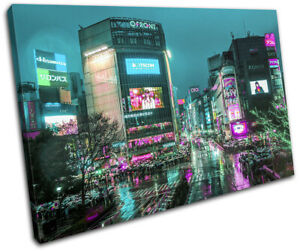 Tokyo Japan Neon Pink Teal City SINGLE CANVAS WALL ART Picture Print