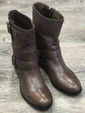 Prada Brown Biker Leather Boots Size EU 38