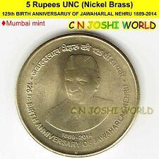 125th BIRTH ANNIVERSARUY OF JAWAHARLAL NEHRU 1889-2014 Ni-Brass Rs 5 UNC #1 Coin