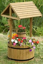Wooden Wishing Well Planter Ornament 1m Tall Outdoor Patio Traditional Pine Wood