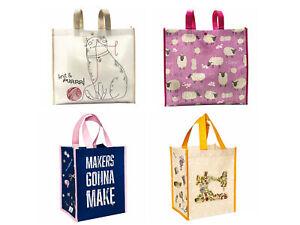 Reusable Shopping Tote Bag For Life Craft I Love Knitting Sewing Pink Cats Sheep