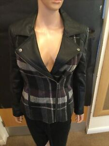 M&S Collection Grey & Black Checkered Zip Up Faux Leather Sleeve Jacket - Size 8