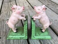 Pink Pigs Cast Iron Pair of Vintage-Style Heavy Bookends