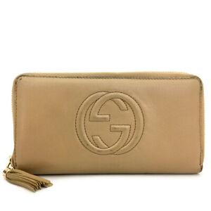 GUCCI Interlocking G Tassel Beige Leather Zip Around Long Wallet /A2361