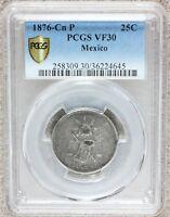 1876 Cn P Mexico 25 Centavos Silver Coin - PCGS VF 30 - KM# 406.2 - TOP POP RARE
