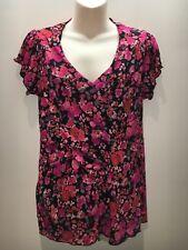 Marks & Spencer Per Una Mesh Short Sleeve V-Neck Top Size UK 16 Fit AU 14 16