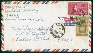 Mayfairstamps South Vietnam 1968 to Bellevue MI Olympics Torch UNESCO Cover wwp_