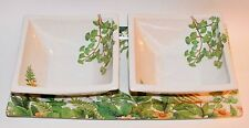 Green Fern Leaf Platter with 2 Square Bowls Made in Italy