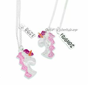 SPARKLING BEST FRIENDS BFF UNICORN NECKLACE FOR 2 GIRLS NECKLACE SET XMAS GIFT