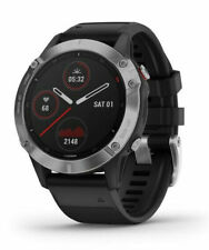 Garmin Fenix 6  47mm Case with Silicone Band GPS Running Watch - Black with Silver Stainless Steel Bezel
