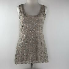 Boston Proper Blush Silver Floral Lace Tank Top Shirt  |  Womens Small