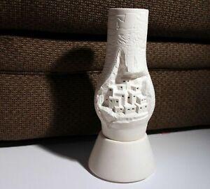 Antique Home Made Pottery candle Lamp Jerusalem City Unfired Unique pot decor