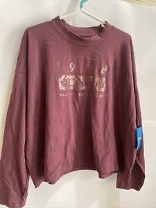 Columbia Lodge Women's mock neck t shirt burgundy plus size 2X MSRP 45