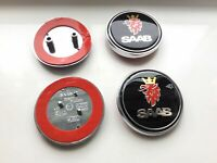 2x BLACK SAAB Bonnet and Boot Badges Emblem With Mount Fits 93 9-3,9-5 2003-2010
