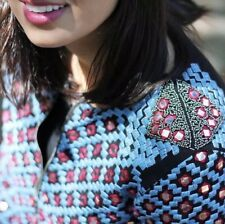 ZARA Ethnic Embroidered Beaded Mirror Bomber Jacket Blazer Small S Mirrored