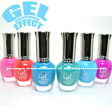 KLEANCOLOR 6 GEL EFFECT NAIL POLISH SUMMER PINK BLUE FUSCHIA LACQUER K-GSET03