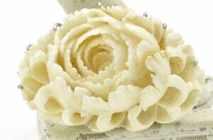 Vintage 14k Solid White Gold & carved Natural White Coral large Pin Brooch 46gr.