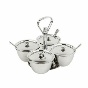 Olympia Revolving Relish Server with 4 Bowls Made of Polished Stainless Steel