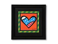 Romero Britto Medium Black Framed Print: LOVE  (Orange Background) NEW