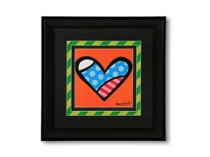 Romero Britto Medium Black Framed Print: LOVE  (Orange Background) NEW