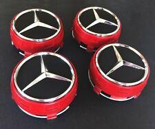 4x MERCEDES BENZ AMG Rot Nabendeckel 75mm Nabenkappen Felgenkappen RED
