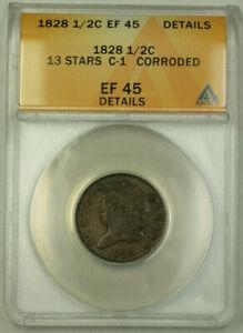1828 13 Stars C-1 Classic Head Half Cent 1/2c Coin ANACS EF-45 Details GKG