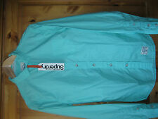 SUPERDRY RRP£44.99 MENS TEENAGER BOY GREEN VINTAGE CUT COLLAR SHIRT SIZE SMALL