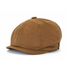 Men Vintage Cotton Newsboy Cap Octagonal Visor Beret Caps Cabbie Ivy Flat Hat