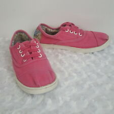 Toms Girls Kids Sneakers Pink Canvas Lace Up Casual Athletic Floral Shoe Youth 3