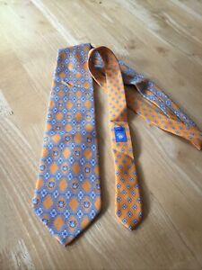 Versace Vintage Silk Tie Orange Blue White