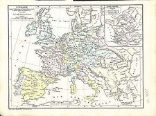 Europe Charles-Quint Guerre Trente Ans Thirty Years' War MAP CARTE ATLAS 1882