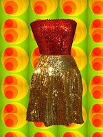 173✪ Glam Rock Hippie Pailletten Top Disco Queen Dancing 70er Jahre rot