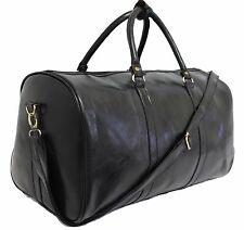 Italian Leather Style Luggage Holdall Weekend Duffel Cabin Travel Case Gym Bag Black