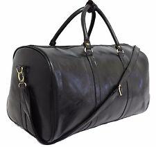 Italian Leather Style Luggage Holdall Weekend Duffel Cabin Travel Case Gym Bag Black