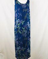Chico's Design Blue Purple Green Floral Rayon Sleeveless Dress Medium